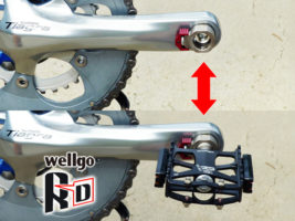 Wellgo(ウェルゴ)の着脱式ペダル「QRD」のペダルが自転車のクランクに着脱されている写真。
