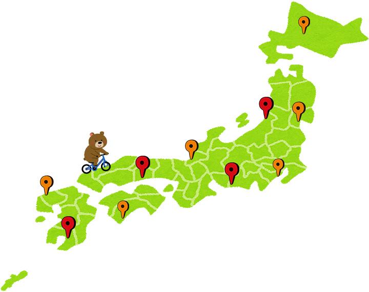 日本各地にポタリングスポットが点在していることを表したイラスト