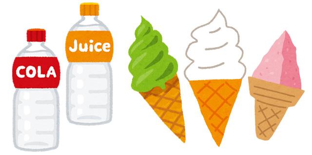 ジュース・ソフトクリームなどのイラスト