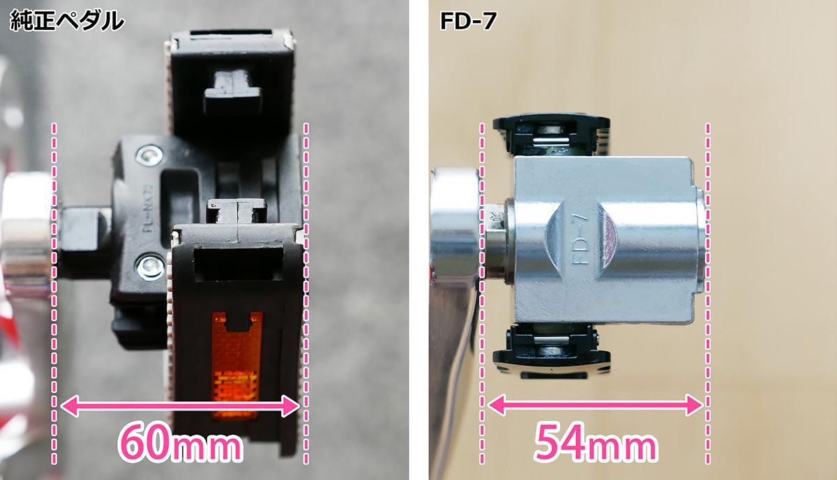 純正ペダルとFD-7の折り畳み時の出っ張り寸法を比較した写真