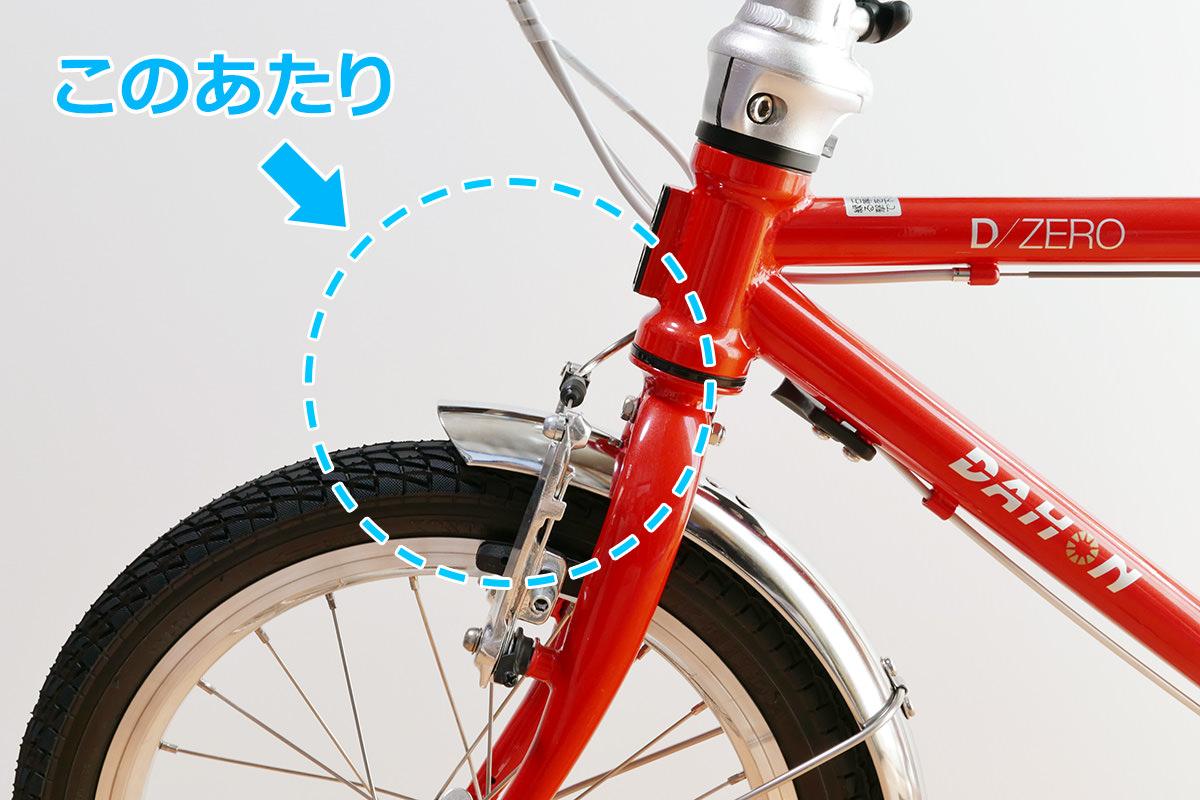 ダホンD-Zeroのライトを装着する位置を示す写真