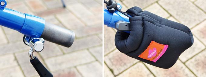 バイクフライデーの折り畳みミニベロ「ニューワールドツーリスト」のステムコラムのジョイント部分(ステム側)に保護具が装着された写真。
