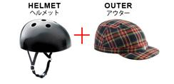 丸い半球状の「ヘルメット本体」と、その上に被せる帽子形の「アウター」を横並びにした写真。