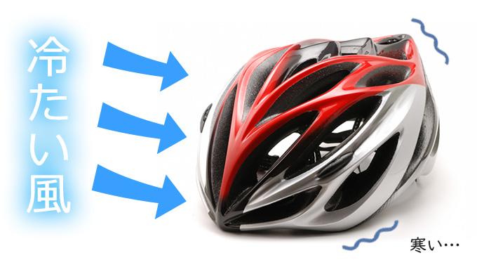 冬のサイクリングで「自転車のヘルメットを冷たい風が吹き抜けて頭が寒い」という悩み・問題を表したイラスト