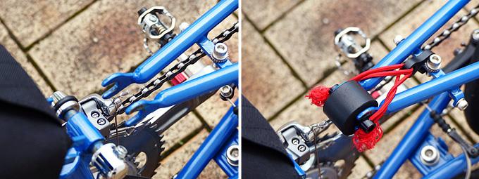 バイクフライデーの折り畳みミニベロ「ニューワールドツーリスト」のリアステーの分割部分に保護具が装着されている写真。
