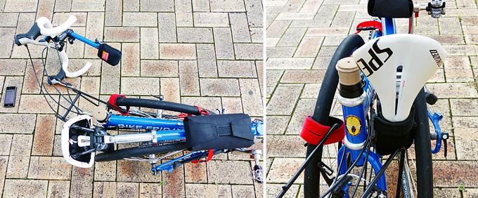 バイクフライデーの折りたたみミニベロ「ニューワールドツーリスト」が途中まで折りたたまれていて、シートマストが前方に折りたたまれたところの写真。