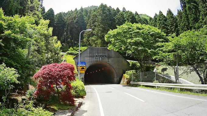 山道を登り切る直前に現れたトンネルの入り口の写真。