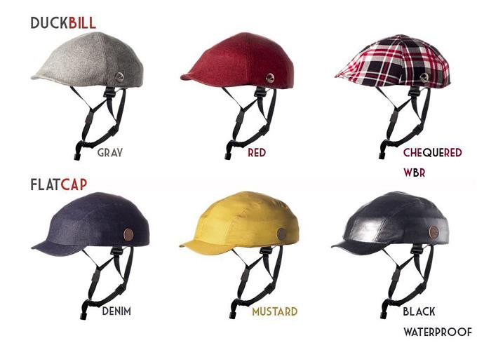 クロスカのヘルメットを6種類並べた写真。どれもカジュアルな雰囲気で帽子のようなデザインをしている。