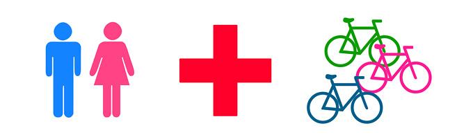 「トイレのマーク」「救急用品を意味する赤十字マーク」「複数の自転車が並んでいるマーク」が並んだイラスト。