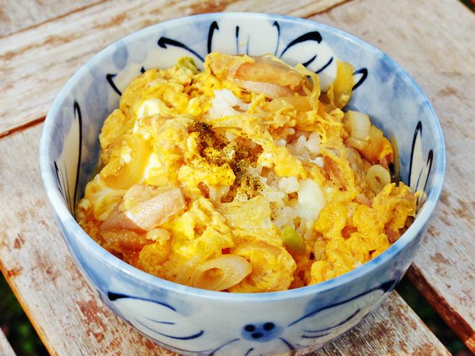親子丼の写真。たっぷりのご飯の上に鶏肉と玉子の黄色い具が乗っている。