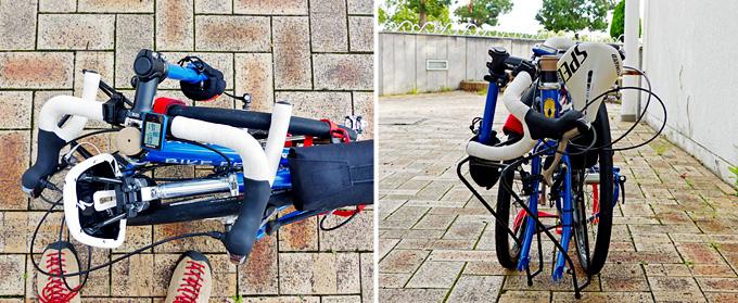 バイクフライデーの折りたたみミニベロ「ニューワールドツーリスト」が完全に折りたたまれた状態で、ハンドルバーが車体に乗せられたところを上からと前から見た写真。
