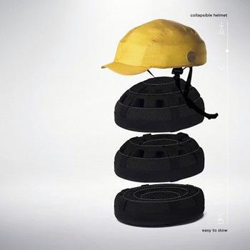 クロスカのヘルメットの構造を示した画像。ヘルメットのアウターを外すと中には折り畳み式のヘルメット本体が入っている。