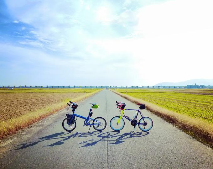滋賀県高島市の広大な田園風景。収穫を終えた後の田んぼの真ん中に、まっすぐの道路が続いている。道路には2台の自転車、「ニューワールドツーリスト」と「コメットR」が停められている。