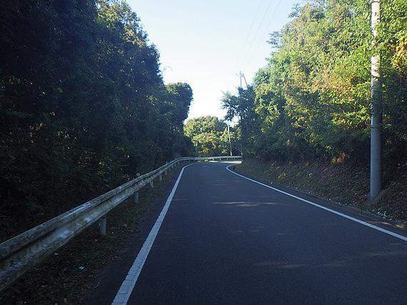急な上り坂の写真。道の両側を木々が囲んで、道路は薄暗く陰になっている。