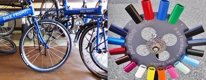 大阪にあるバイクフライデー取扱店「イトーサイクル」の店内にバイクフライデーの自転車が何台か並んでいる写真と、バイクフライデーの自転車のカラーサンプルの写真。