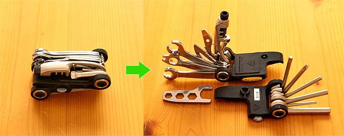 自転車用携帯工具「トピーク・エイリアン2」の写真。非常にたくさんのツールが折りたたまれている。