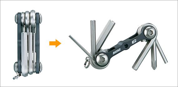自転車用携帯工具「トピーク・ミニ6」の写真。6種類の工具が収納されている。