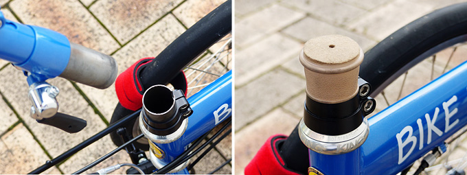バイクフライデーの折りたたみミニベロ「ニューワールドツーリスト」のステムコラムのジョイント部分(車体側)に保護具が装着された写真。