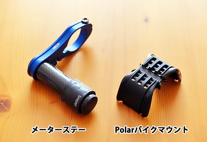 「TNIカーボンメーターステー」と「Polarバイクマウント(リストバンドタイプ用)」が並べて置かれた写真。