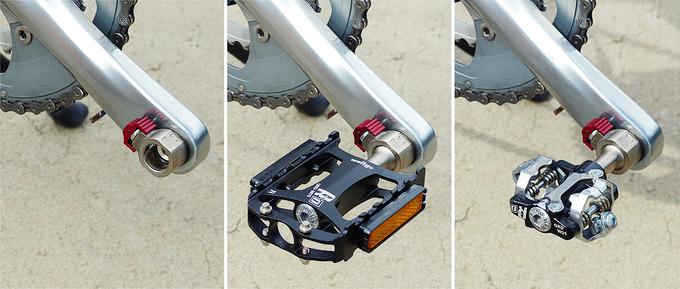 「Wellgo(ウェルゴ)」の着脱式ペダル「QRD」のペダルが自転車のクランクに装着されている3枚の写真。1枚目はクランクにアダプターだけが付いた写真で、2枚目は黒いフラットペダルが付いた写真、3枚目はSPDビンディングペダルが付いた写真。