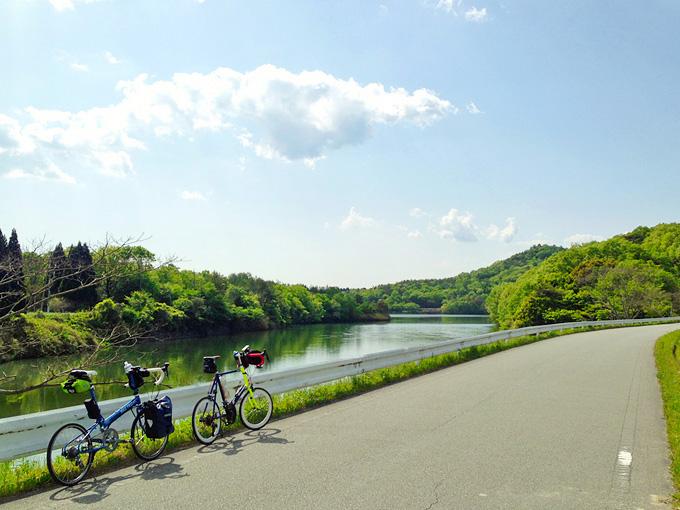 千丈寺湖の湖岸の写真。湖のほかには、緑色の木々と1本の道路しかない。