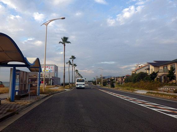 淡路島・岩屋付近の国道28号線の道路の写真。道路脇に椰子の木が立ち並んでいる。