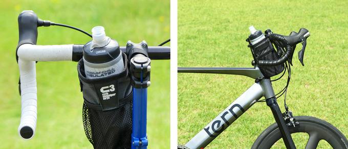 「ステムサイドポーチ」を自転車に装着してボトルケージ・ドリンクホルダーとして使用している写真、例としてサイクルボトルが収納されている。