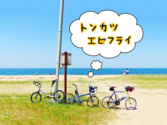 青い海・白い砂浜が広がる海岸で、3台のミニベロが置かれている写真。