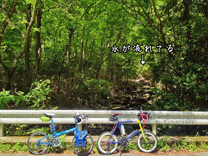 山道の途中にある、水が流れる風景の写真。森の奥からこちらに向かって渓流が流れている。手前には2台の自転車、ニューワールドツーリストとコメットRが停められている。