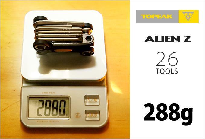 「トピーク・エイリアン2」がデジタル重量計に乗せられた写真。重さは「288グラム」を示している。