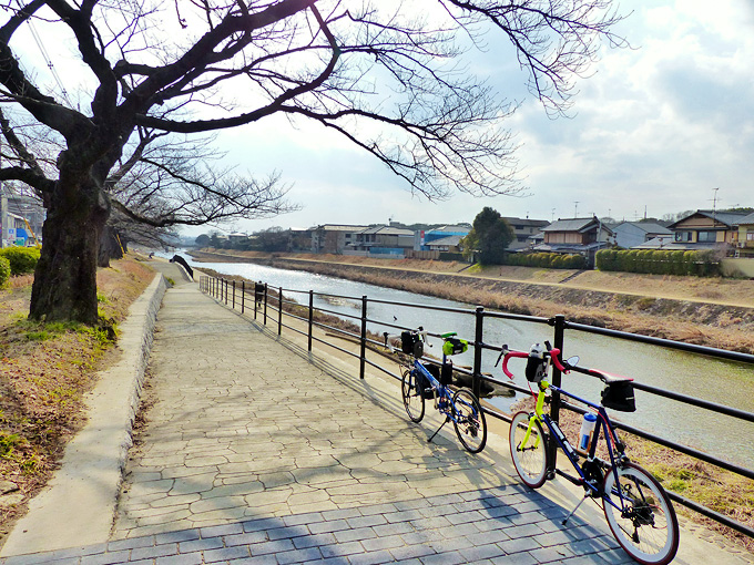 京都市左京区の川端通と東鞍馬口通が交わるところから、高野川を眺めた写真。河川敷の遊歩道に入る道がある。遊歩道の入り口には2台の自転車、「ニューワールドツーリスト」と「コメットR」が停められている。