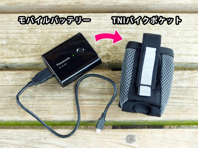 モバイルバッテリーとTNIバイクポケットが並べて置かれている写真。TNIバイクポケットは、モバイルバッテリーにぴったりなサイズであることがわかる。
