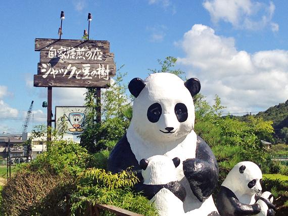 道路脇に置かれたパンダの親子のオブジェの写真。パンダの後ろの看板には「ジャックと豆の樹」とお店の名前が書かれている。