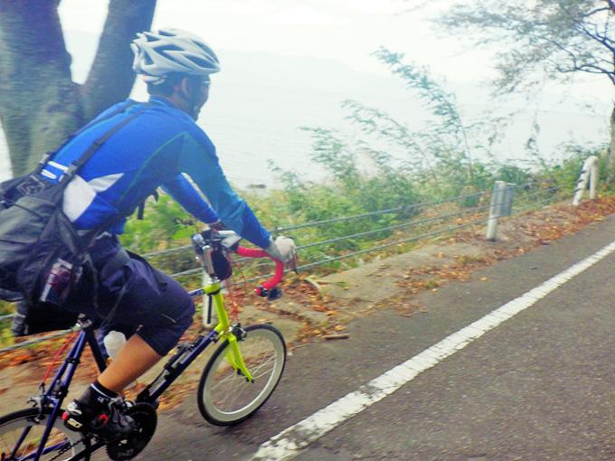 滋賀県近江八幡市の琵琶湖湖岸の「水ヶ浜」付近の道路を自転車で走る友人の姿を捉えた写真。友人と木々のむこうに琵琶湖の水面が見える。