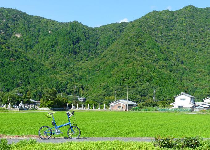 稲苗が植えられた一面緑色の田んぼの風景、手前の道にバイクフライデーの折り畳みミニベロ「ニューワールドツーリスト」が停められている。むこうには濃い緑色をした山が迫っていて、稜線の上には青空が見える。