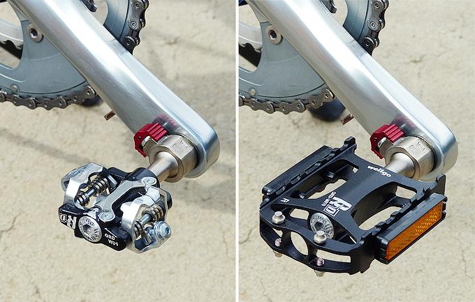 「Wellgo(ウェルゴ)」の着脱式ペダル「QRD」のペダル2種類が自転車のクランクに取り付けられている2枚の写真。1つは、SPDビンディングペダルで、もう1つは黒い樹脂性のフラットペダル。