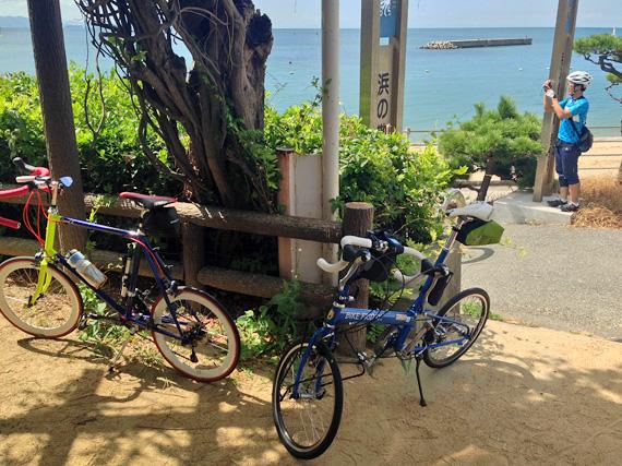 江井ヶ島付近の高台の写真。むこうには海と砂浜が見える。「浜の散歩道」と書かれた看板がある。