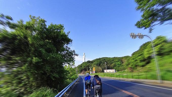 淡路島・仮屋付近の道路から見た風景の写真。緑の木々が立ちならんでいて、前方には白い大きな仏像「世界平和大観音像」が見える。