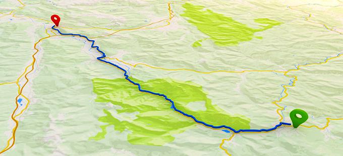 地図上に自転車のツーリングコースのルートマップが描かれたイメージイラスト。