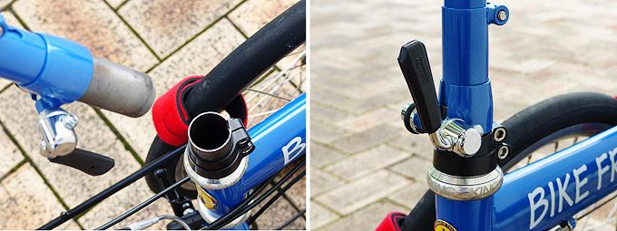 バイクフライデーの折りたたみ小径車「ニューワールドツーリスト」のステムジョイント部分にステムコラムが差し込まれて、クイックレバーで固定されている写真。