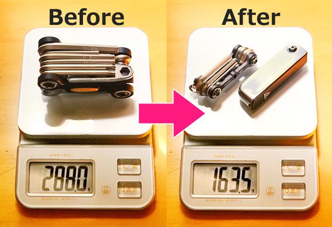 自転車の携帯工具の重さを示したデジタル重量計の画像。左側は工具1個で重さ288グラム、右側は工具2個で163.5グラムを示している。