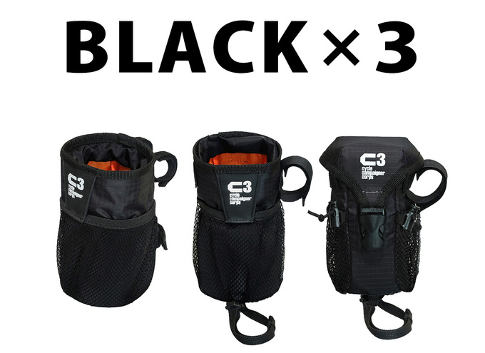 C3ハンドルポーチ3製品ブラックMIX-B