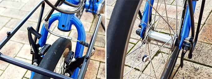 バイクフライデーの折りたたみ小径車「ニューワールドツーリスト」のフロントブレーキとフロントホイールのクイックリリースレバーの写真。